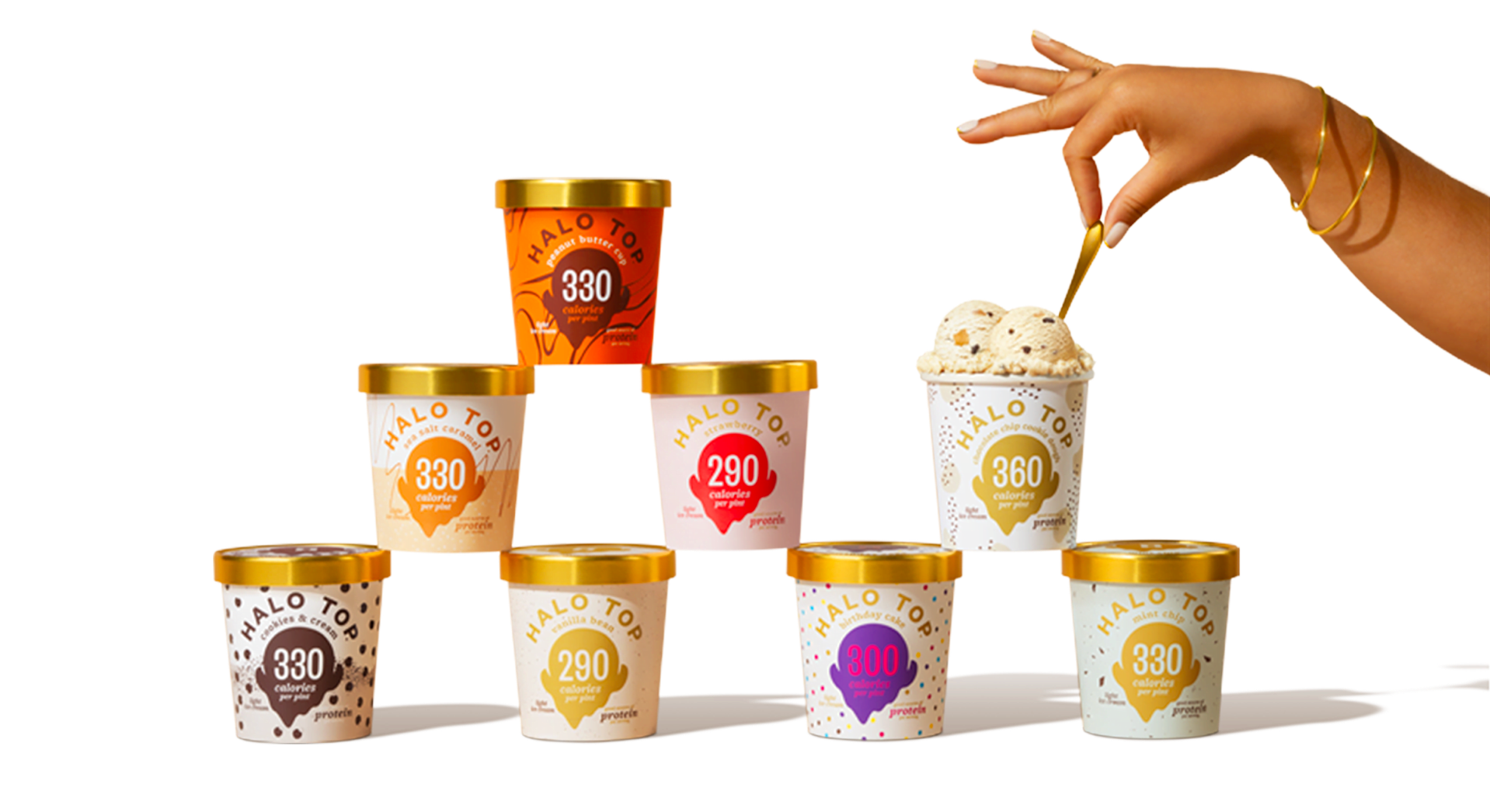 stacked Halo Top ice cream tubs