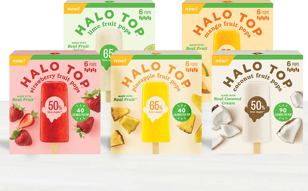 5 boxes of different fruit pops