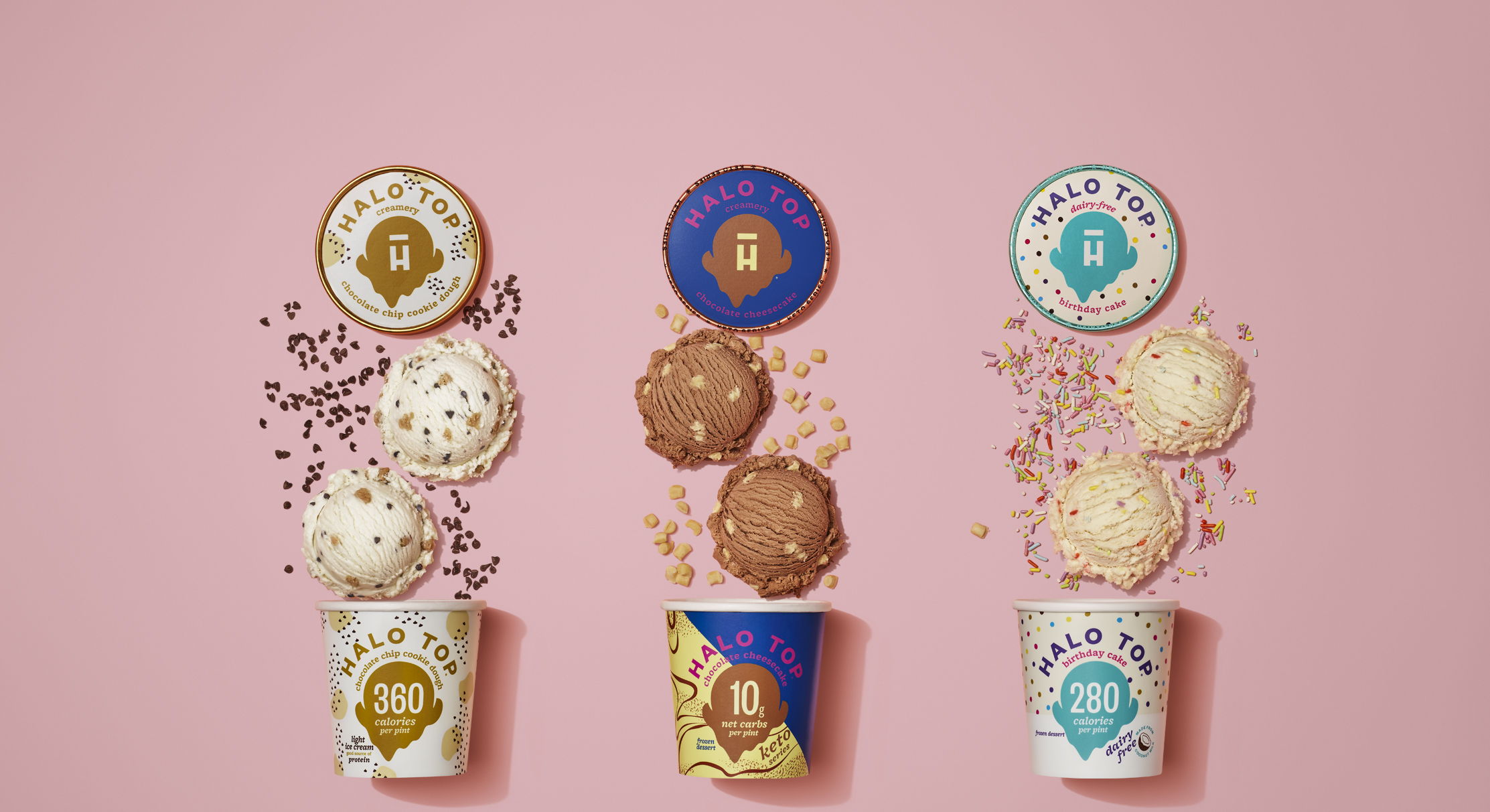 Halo Top ice cream tubs layed out